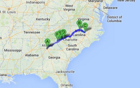 Emma Holderread's map of her college road trip.