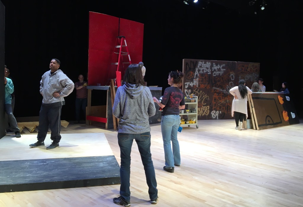 Drama+Tech+students+help+construct+the+set+for+spring+musical+%E2%80%9CRent.%E2%80%9D+