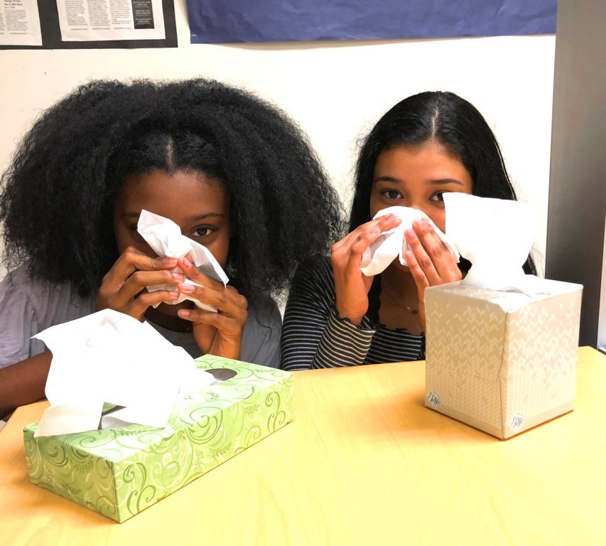 Kleenex+Please%3A+Sophomores+Adrienne+Pugh+and+Jaquelin+Piza+are+among+those+contending+with+an+early-arriving+cold+season+at+North+Atlanta.+