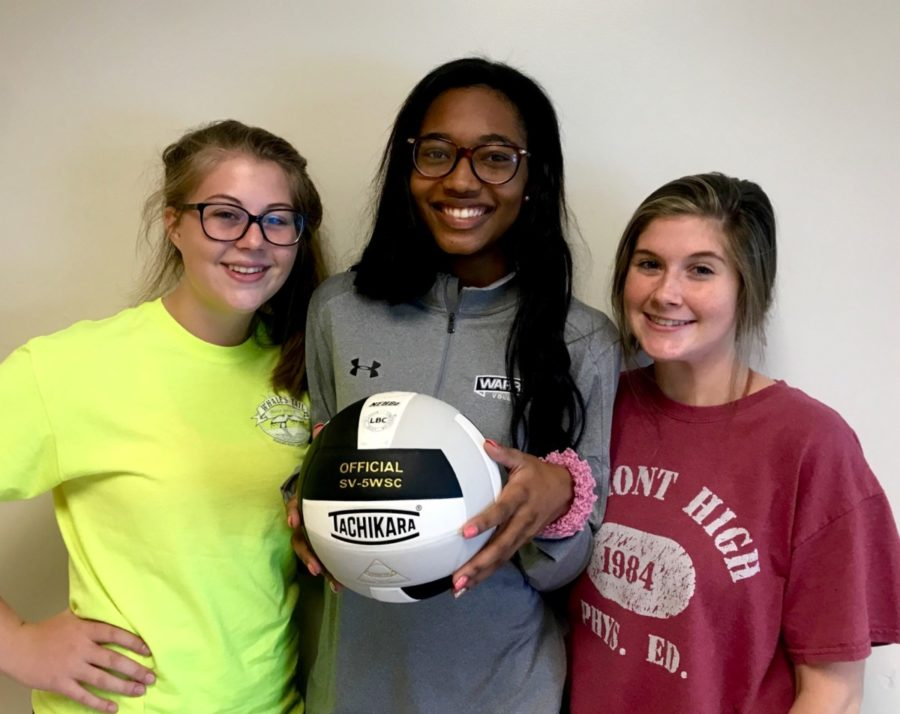 Bump%2C+Set%2C+Spike%2C+Win%3A+Seniors+Jenna+Campbell%2C+Chelsea+Howard%2C+and+Pressley+Perkins+prepare+for+a+successful+volleyball+season+by+training+the+team+and+boosting+morale.+