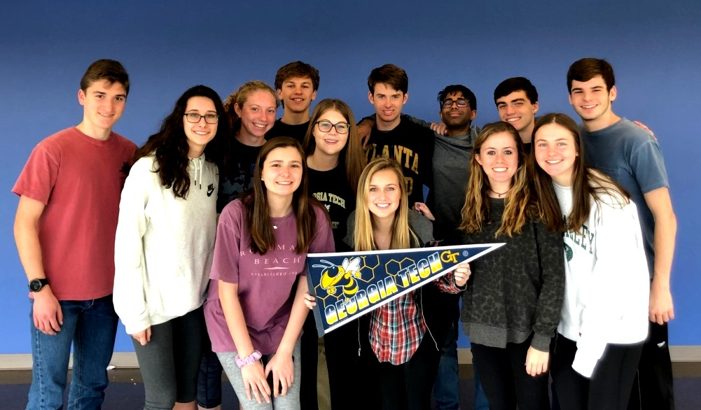 Better Bee-lieve It: Meet Georgia Tech's new future alumni!  Back Row: Brooks Buckelew, Carter Smith, Ishaan Ghosh, Ethan Levy, Drew Sheldon Middle Row: Mac Bloodworth, Ellie Hankin, Jenna Campbell Front Row: Lila Ward, Taylor Hunter, Hanna Shaw, Callie Perciful, Parker Dingman