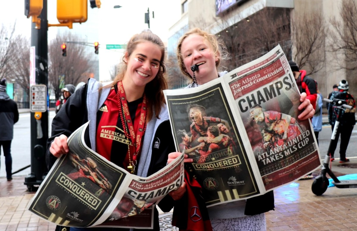 Rowdy and Proud: Seniors Alexis Elrod and Sadie Fitzgerald took in the Atlanta United championship parade in downtown Atlanta.