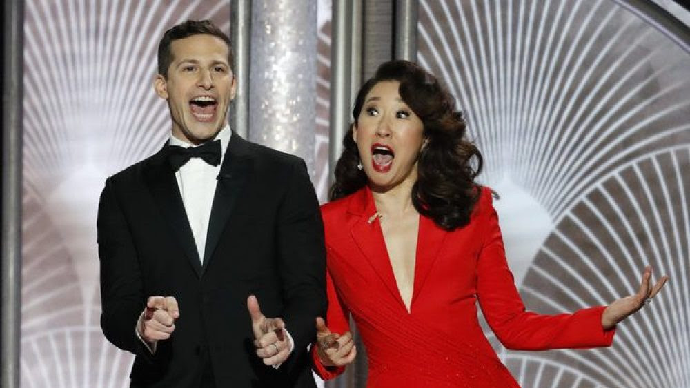 Grand Ol'Time: Hosts Andy Samberg and Sandra Oh prepare the audience for the Golden Globes event. Here's a recap.