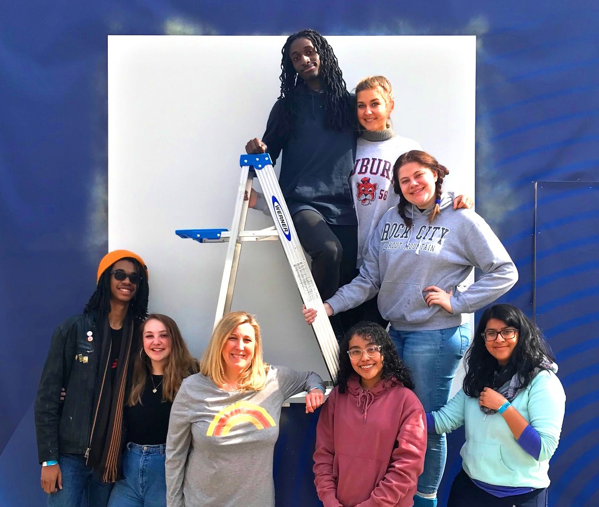 Super Mural: North Atlanta students take on mural in Centennial Park for 2019 Super Bowl. Pictured are Ranier Truesdale, Lilly Nail, Vanessa Martinez, Yesenia Maldonado, Cameron White, Anna Beth Bradley, McKenzie Buie, and art teacher Kimberly Landers.