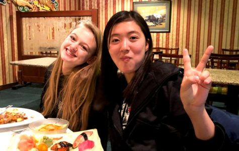 Exchanging Ideas: Sophomore Lucy-Grey Shields and Japanese exchange student Haruna Egami enjoy some sushi and other manner of Japanese cuisine at Buckhead's Taka restaurant.