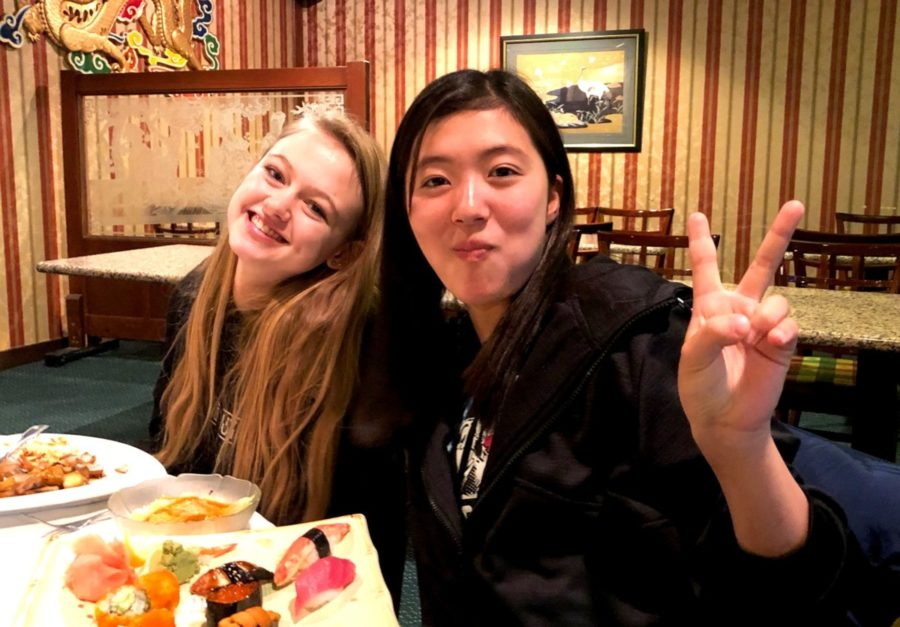 Exchanging+Ideas%3A+Sophomore+Lucy-Grey+Shields+and+Japanese+exchange+student+Haruna+Egami+enjoy+some+sushi+and+other+manner+of+Japanese+cuisine+at+Buckhead%E2%80%99s+Taka+restaurant.+%0A