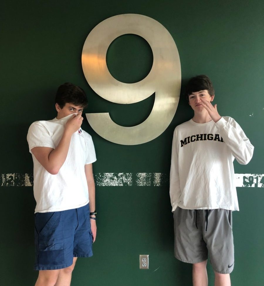 Foul Smells: Juniors Sam Harrigan and Graham Lee try to ignore the stench that plagues the ninth floor.