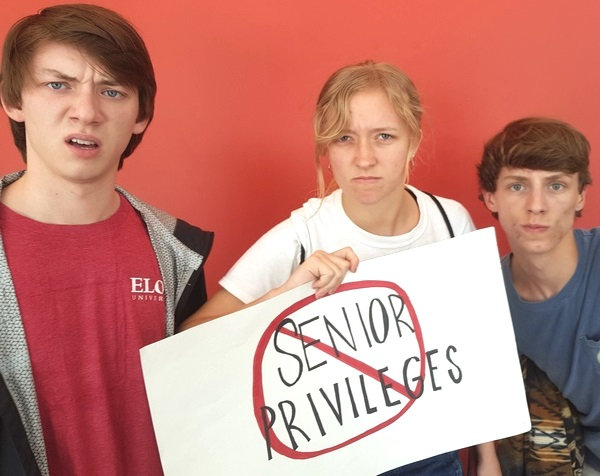 Searching for Perks: Seniors Matthew Celecia, Keely Fitzsimmons and Graham Humphreys say they are looking for more privileges associated with being in their last year of high school.