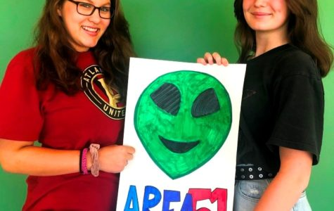 """Martian Mania: Sophomores Sydney Heaton and Anna Greer both fell into the meme-based mania surrounding """"Story Area 51,"""" the Nevada desert site where aliens supposedly exist."""