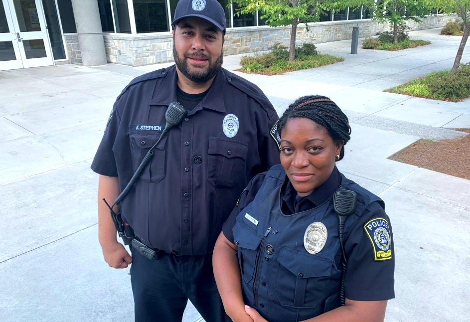 Law and Order! (Left to Right) Kyle Stephen and Jeanelle Nicolas keep North Atlanta safe