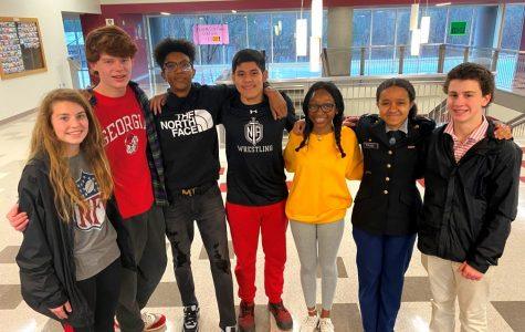 What Unites Us: One of North Atlanta's greatest strengths is the diversity of its student population. Shown are Josie Bird, Sullivan Seydel, Amir Stevenson, Siriaco Maldonado, Se'Lah Robinson, Hannah Paige and Jackson Flores.
