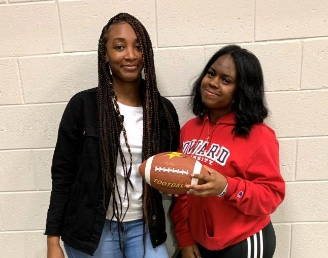 Down Set Hut!: Members junior Aspyn Okantah and senior Sanaa Hardy rep the Girls Flag Football team.
