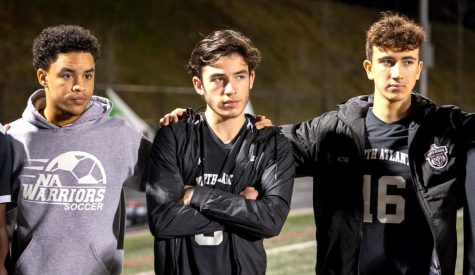 Over Too Soon: Warrior boys soccer seniors Donovan Earle, Alex Phillips and Ferhan Altug are left to ponder what might have been in the wake of the pandemic-shortened 2020 Warrior soccer campaign. After coming off a key March 6 region victory, the team was gearing up for a possible state playoff run.
