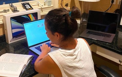 Sneak a Peek: Virtual education opens up a host of new... educational enhancements. A freshman - who asked to remain anonymous - takes a look at her book during a quiz