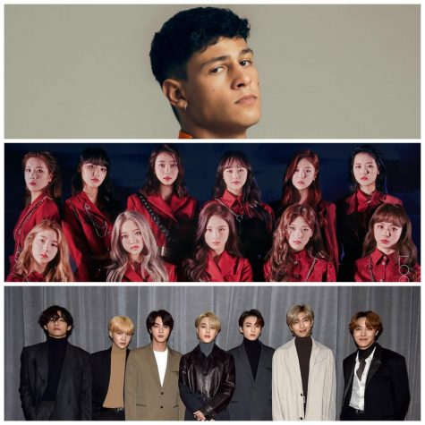 "Emilio Sakarya (top) released his first full album back in September, and now acts in Netflix's show ""Warrior Nun."" Loona, (middle) a kpop girl group most known for associating with the phrase ""Stan Loona,"" which is iconic in the kpop community, and made headlines a few days ago with their song ""Why Not?"". Lastly, BTS (bottom) a global kpop boy band, that had released their first English single this year called Dynamite in August."