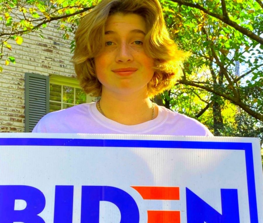 Ridin' With Biden: Sophomore Wyly Wickland shows his support for president-elect Joe Biden.