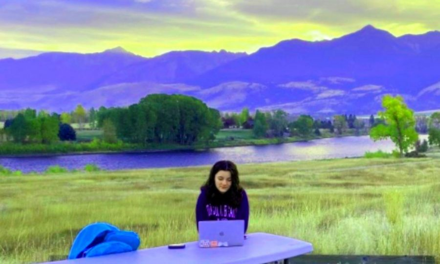 Big Sky School: With a spectacular Western vista behind her, freshman Maddox Wade takes in a North Atlanta class. She and her family spent much of October during Term 1 in Pray, Montana. For many North Atlanta students, remote education has meant day-to-day classes can be tackled anywhere -- no matter how far from 4111 Northside Parkway.