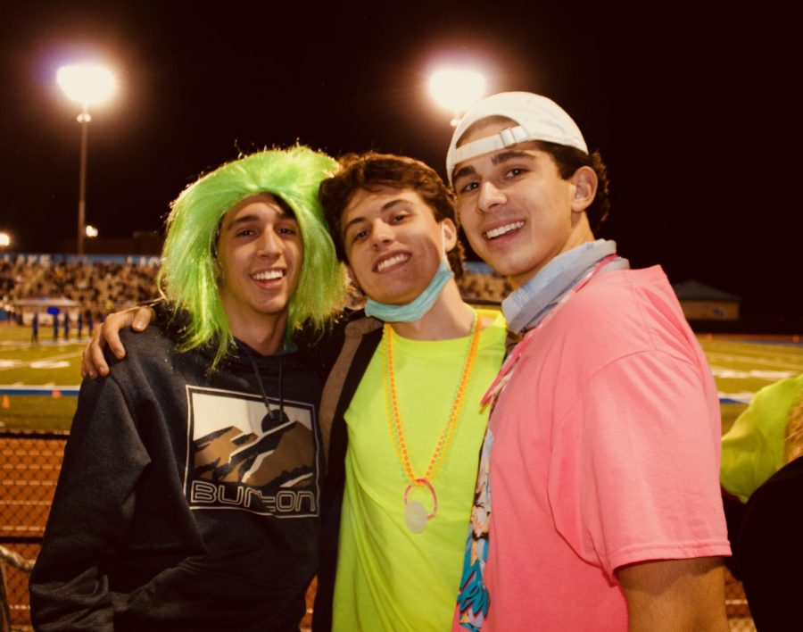 Dedicated Seniors: Shown above from left to right are seniors Greyton Iannotti, Tyler Hankin, and Anders Roth. These seniors were able to secure tickets and see their football team in action for the first time this season.