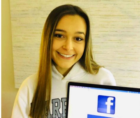 In or Out: The future of Facebook is debated by many young people today. While some find it outdated, many people all around the world, and in the Dub community, still value this iconic social media platform. Shown above is junior Mady Mertens.