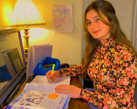 Acing the ACT: Junior Anna Greer studies for her upcoming SAT and ACT tests.