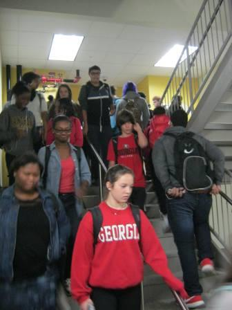 The crowded stairwells of North Atlanta High School.