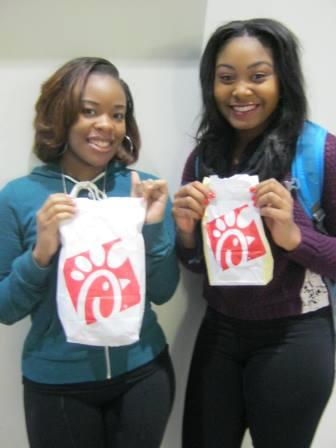 Senior Deavionne Register and junior Jasmine Robinson just have to have Chick-fil-a in the morning.