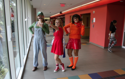 Seniors (left to right) Abigail Shipps, Annie Jacobs, and Lydia Zemmali pose in their 'Character Day' costumes during Homecoming Week last year.