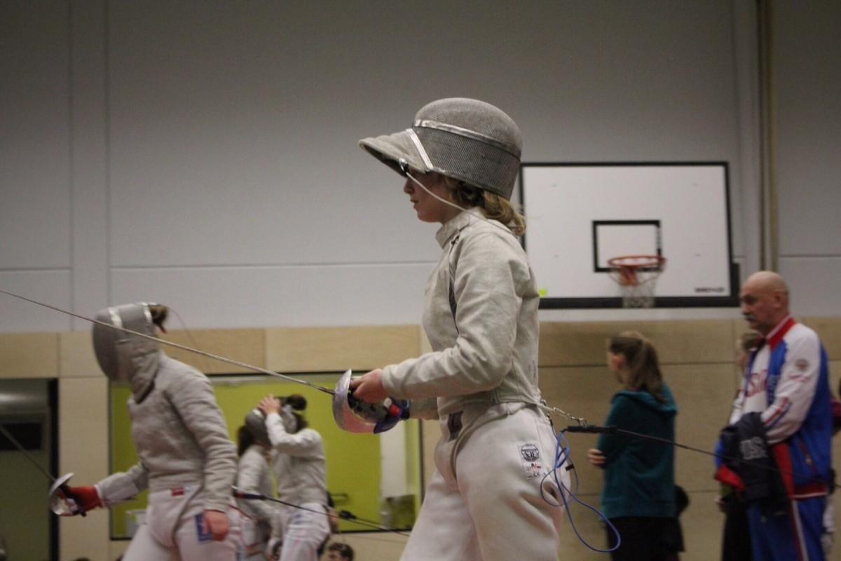 Senior Lark Izenson at a fencing competition in Germany.