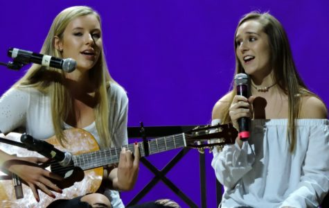 """Sophomores Jessica Stevens and Gillian Schuh give their rendition of """"Summertime Sadness"""" by Lana Del Rey."""