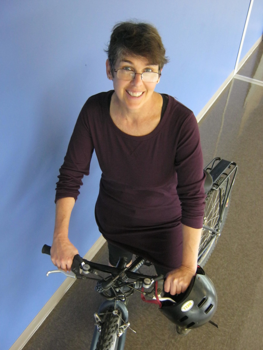 Two-Wheeled Commute: IB biology teacher Marie Killory rides to North Atlanta most days on her trusted mountain bike hybrid.