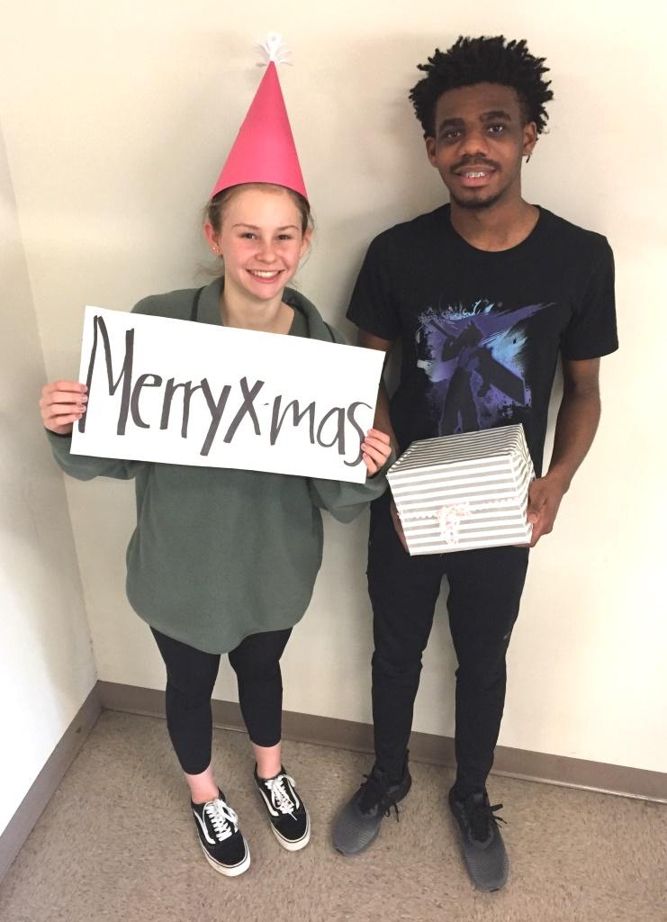 Bring On the Yule: Sophomores Greg Gosha and Taylor Hicks make ready for the holidays at North Atlanta.