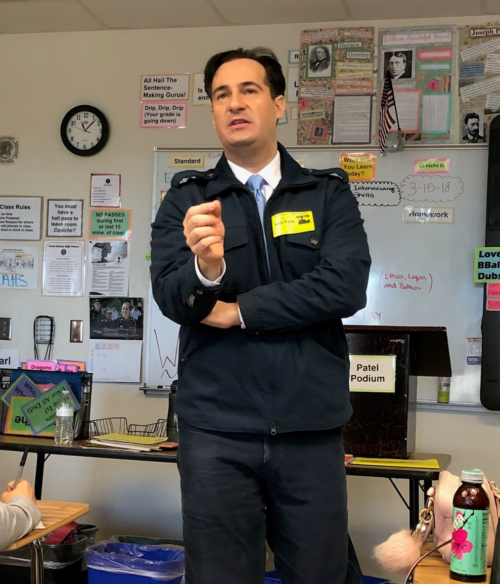 Anchorman: CNN 10 anchor Carl Azuz spoke to Journalism 1 students about the opportunities and challenges associated with the broadcast news industry.