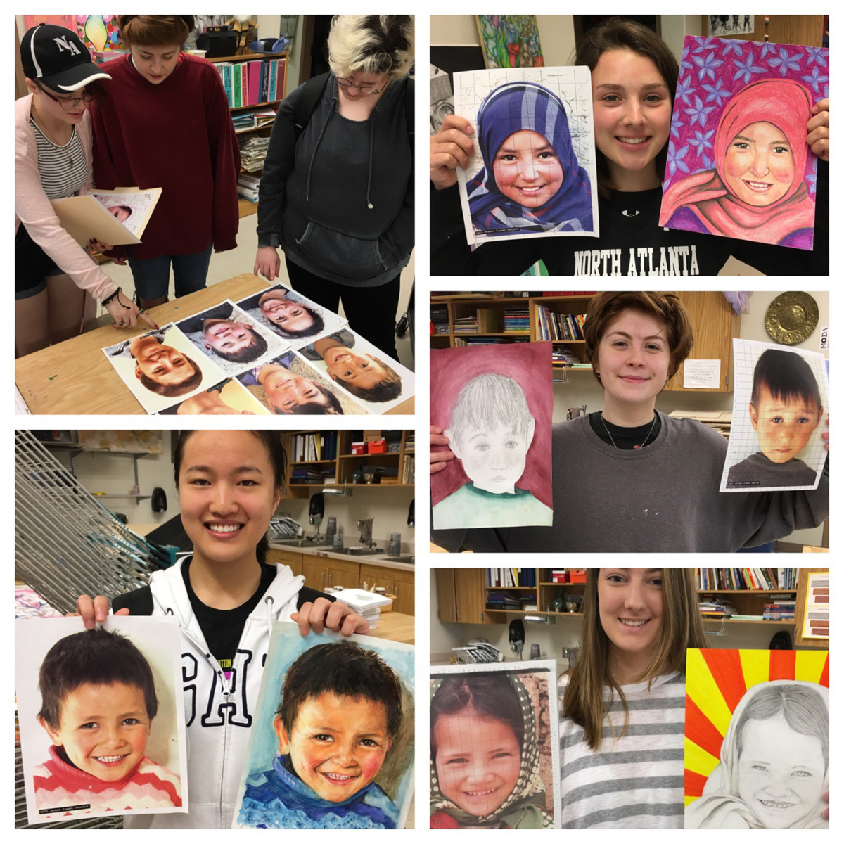 Healing Art: Under the Memory Project, North Atlanta art students recreated photos of children from war-torn areas and will send that art back to the children to give them reasons to smile and have hope.