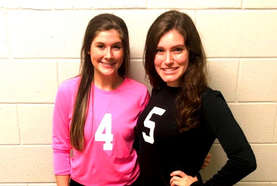Dynamic Duo: Seniors Pressley Perkins and Delaney Elder -- beyond playing on the Warrior volleyball team -- offer significant organizational help for the Athletic Department.
