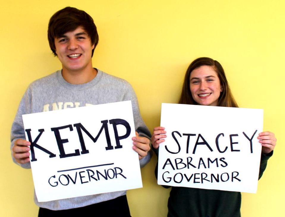 Race to Victory: Sophomores Ben Blauser and Zoe Glickman both show their support for the two candidates moving to win in the Georgia Governor's Race.