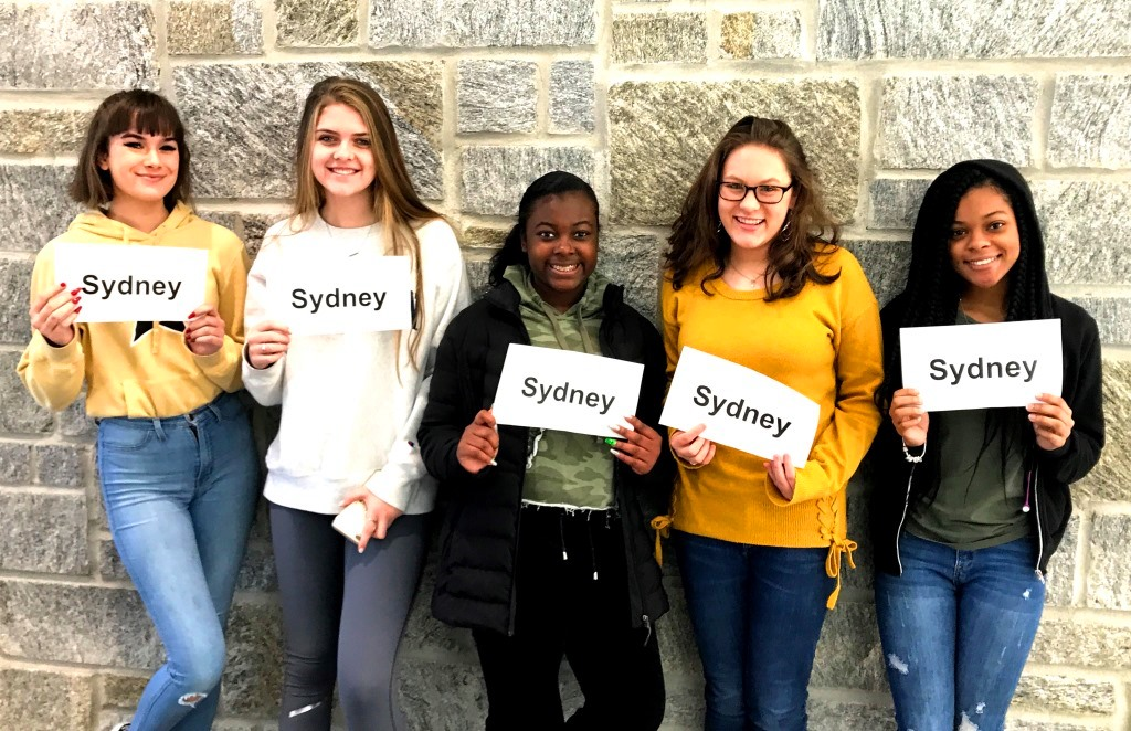 Common Concerns: Sophomore Sydney Blackburn, junior Sydney Miller, and freshmen Sydney Collier, Sydney Heaton, and Sydney Ellis struggle with the common name troubles that follow them throughout the hallways and classrooms.