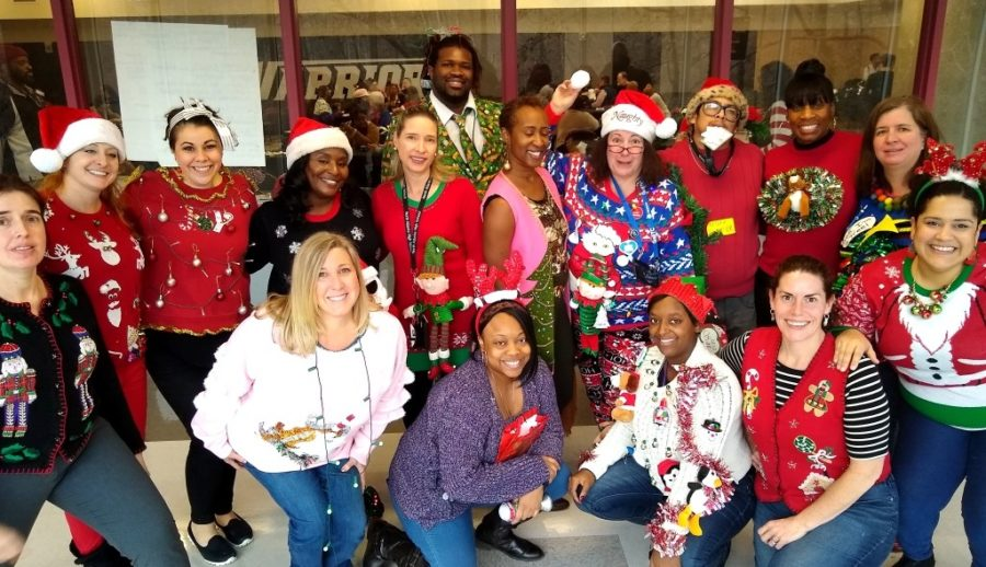 "Winning Ugly: North Atlanta teachers were at their yuletide gaudiest for an action-packed ""Ugliest Sweater"" competition held on Dec. 19 in the afternoon after finals."