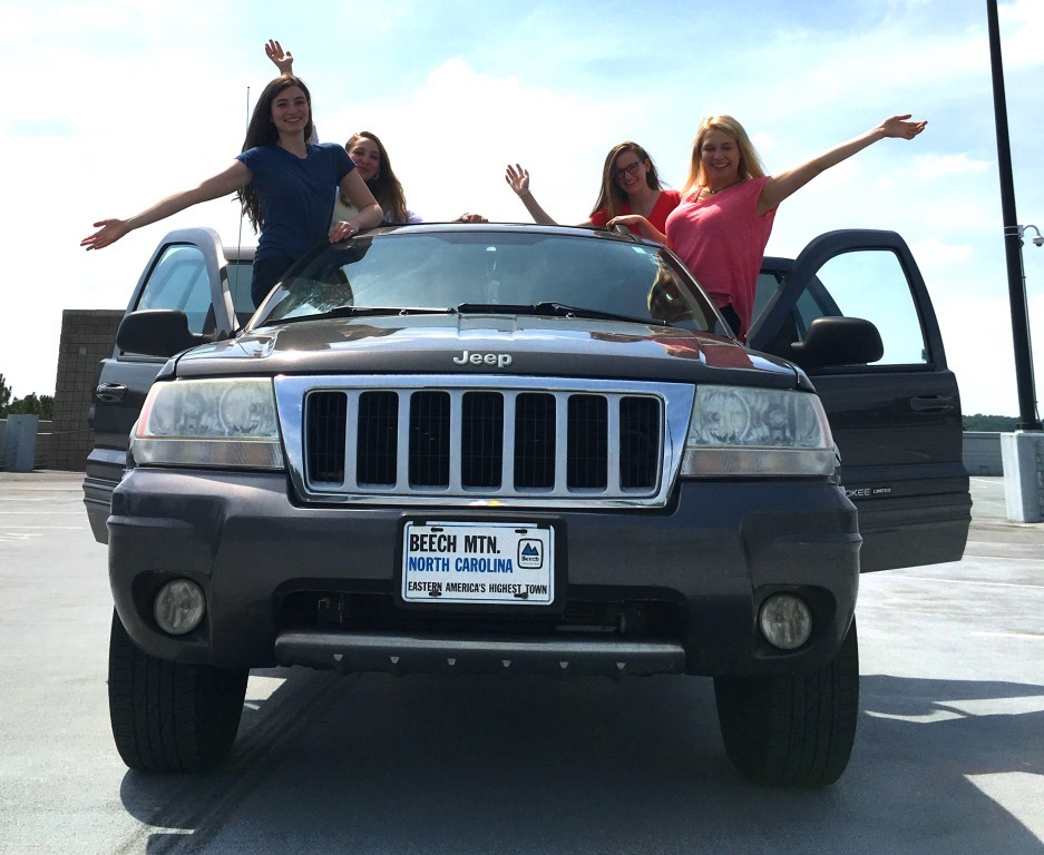 Share the Ride: Juniors Maddy Carter, Mary Grace Ray, Lillian Nail and Olivia Chewning are trying carpooling as one way Warriors can save the planet.