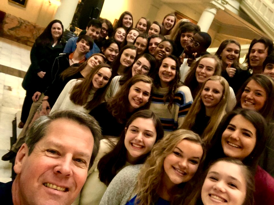 Rho(d) to Leadership: The Rho Kappa group takes a photo with Governor Brian Kemp at the Georgia State Capitol.