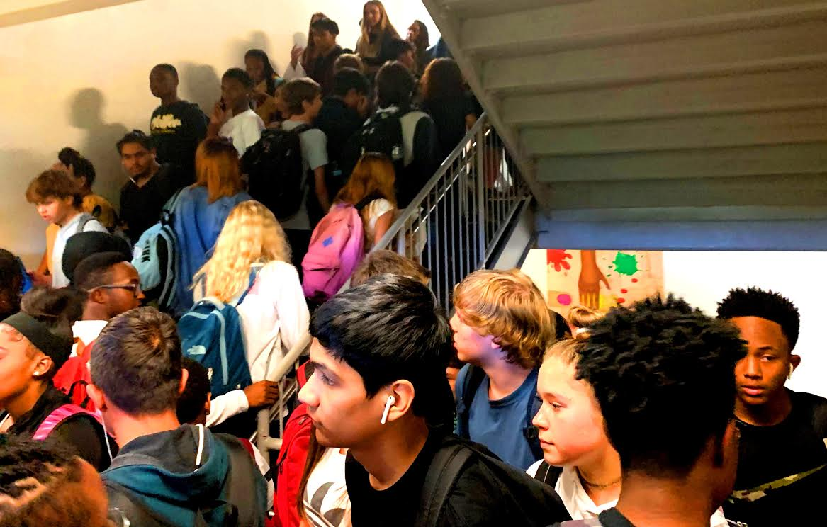 Bumper to Bumper: Students find themselves crowded in the stairwells between classes