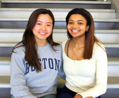 Harvard Bound: Nearing the end of one educational journey, seniors Emily Song (left) and Soleil Golden (left) ready for the next stage at Harvard University.