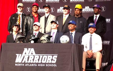 Next Level: 11 Dubs athletes signed to continue their careers at the collegiate level. First row: Alden Sweatman, Tommy Fialkowski, James Brewer, Larry Love, Angelo Ramirez.  Second row: Wiley Hartley, Wesley Horton, Sam Biven, Davis Bell, T.K. Mack, Malcolm Woods.
