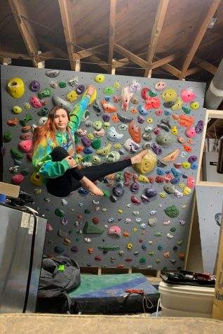 Super Staycation: Junior Helen Stephens spent her spring break creating a rock climbing wall in her house.