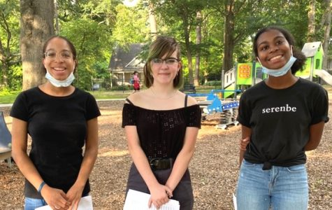 Just Cause: This summer, North Atlanta students lent their voices and efforts toward supporting the fight for racial justice under the Black Lives Matter Movement. Here sophomore Lyric Hoover, freshman Kensington Eden, and sophomore Lena Hoover met up for a school-organized protest at Sara Gonzalez Park in Buckhead in June.