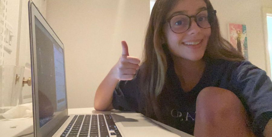 Feeling Blue: Sophomore Maggie Koontz poses with new blue light glasses meant to protect her eyes while staring at her screen