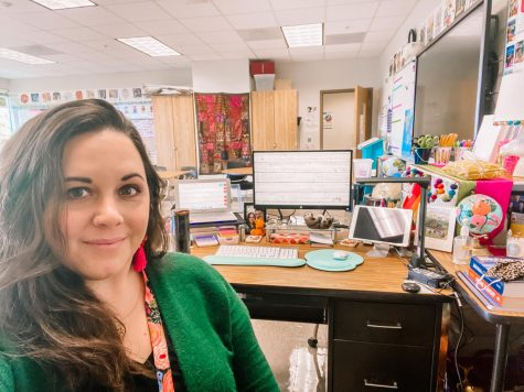 Staying Organized: AP world history instructor Cailtin Tripp enjoys a distraction-free virtual learning day from the comfort of her own classroom.