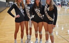 Senior Celebrations: Shown left to right are seniors Maddie Bartlett, Katie Jacobus. Honor Crandall and Emilie Jacobus after they were honored at senior night.