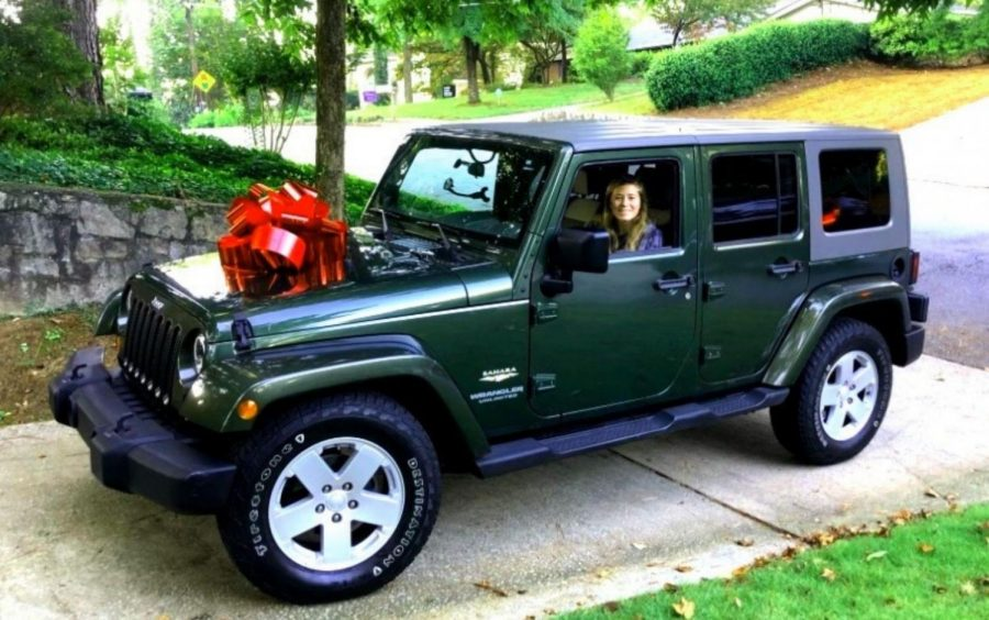 Four-Wheel Whip: Sophomore Lindsay Vicens can now cruise around town in her new car, which she received for her birthday.