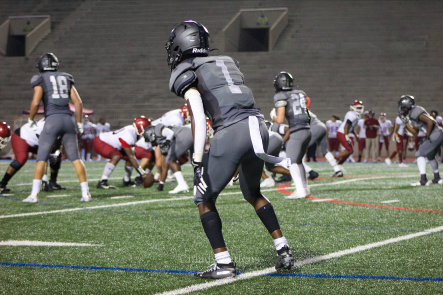 Syre Stewart, Senior, Corner Back lining up for the play.