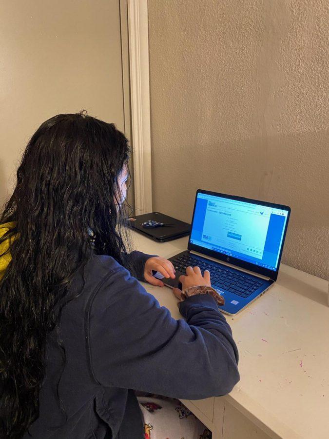 Testing Bubble: Junior Grecia Pino appreciates the quiet and calm while she takes a test virtually.